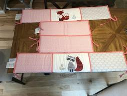 4 Piece Lambs And Ivy Bumper Set For Baby Girl's Crib- Woo