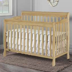 5-in-1 Convertible Baby Crib Toddler Full Size Bed Natural W