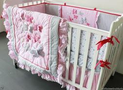 7pcs Baby Crib Cot Bedding Sets Quilt Bumpers fitted Sheet D