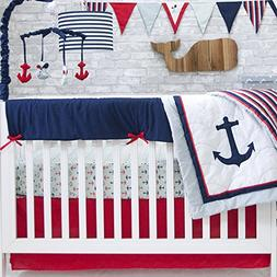 Pam Grace Creations 6 Piece Anchors Away Crib Bedding Set, B