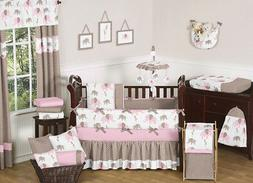 Sweet Jojo Designs 9-Piece Modern Pink and Brown Mod Elephan