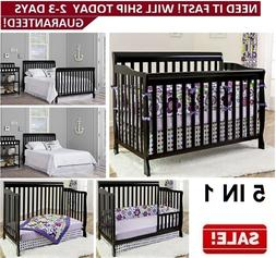 Baby Bed Convertible 5-in 1 Full Size Crib Black Nursery Bed