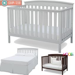 Adjustable Baby Crib 4 in 1 Convertible Sold Wood Convert to
