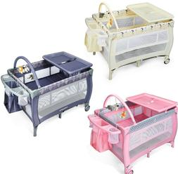 Baby Crib Portable Toddler Bed Travel Bassinet Foldable Play