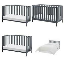 Baby Crib to Toddler Bed 4 in 1 Convertible Gray Child Sleep