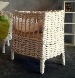 Baby doll crib with mattress. 1:6 scale wicker miniature dol
