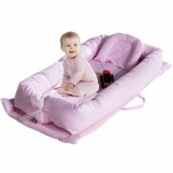 Brandream Baby Lounger Pink Striped Portable Crib for Bedroo
