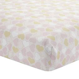Lambs & Ivy Baby Love Heart Fitted Crib Sheet, Pink/Gold/Whi