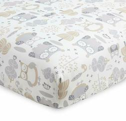 baby night owl collection print fitted crib