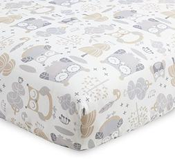 Levtex Home Baby Night Owl Collection Print Fitted Crib Shee