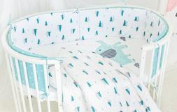 Baby Nursery Crib Bedding Set with Bumpers for Round Crib
