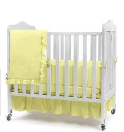 Babydoll Bedding Solid Yellow Color Portable Crib Bedding