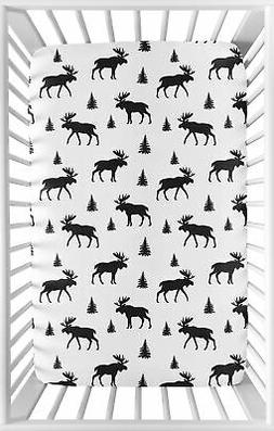 Sweet Jojo Designs Black and White Woodland Moose Baby Fitte