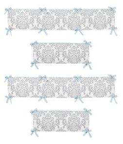 Blue and Gray Avery Collection Crib Bumper by Sweet Jojo Des