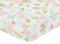 Sweet Jojo Designs Blush Pink, Mint and White Watercolor Ros