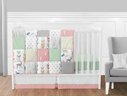 Bumperless Coral Mint White Grey Deer Forest Baby Girl Nurse