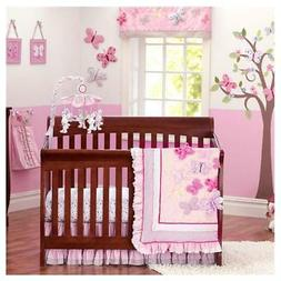 Brandream Butterfly Floral Crib Bedding Sets for Girls with
