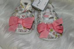 Carter's Baby Girl Floral Mary Jane Crib Shoes Pink Bow Size