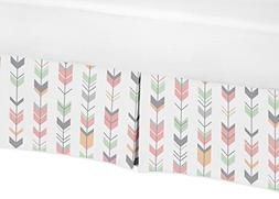 Sweet Jojo Designs Coral, Mint and Gray Crib Bed Skirt Dust