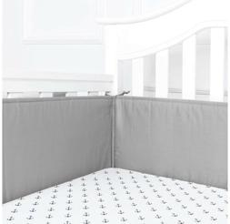TILLYOU Cotton Collection Baby Safe Crib Bumper Pads for Sta