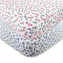 Hudson Baby 2 Piece Cotton Fitted Crib Sheet, Floral, One Si