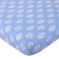 NoJo 100% Cotton Fitted Crib Sheet, Clouds, Blue/White
