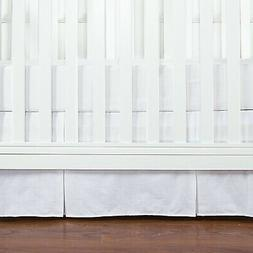 TILLYOU Crib Bed Skirt Pleated, 100% Natural Cotton, Nursery
