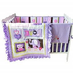 Brandream Crib Bedding Sets for Girls with Bumpers Purple Fl