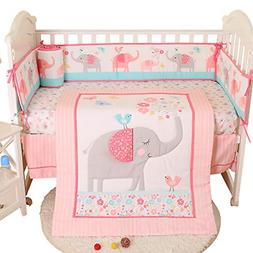 Brandream Crib Bedding Sets for Girls with Bumpers Pads Butt