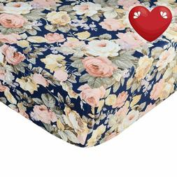 Crib Sheet Dark Floral Fitted Crib Sheet Vintage Fitted Crib