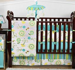 Discount Boutique Luxury Blue and Green Flower 9p Baby Crib