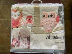 Lambs & Ivy Family Tree Owl Coral/Gray/Gold 4 Piece Crib Bed