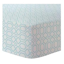 Kushies Fitted Crib Sheet Flannel, Octagon Turquoise
