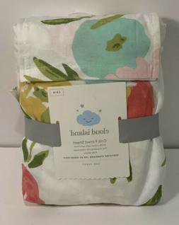 Cloud Island Floral Fitted Crib Sheet girl's nursery bedding