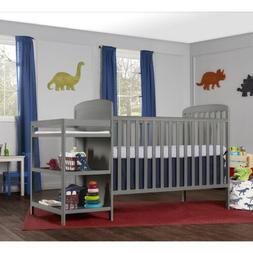 Gray Grey Full Size Convertible 2-in-1 Crib Bed Baby Toddler