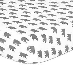 Grey Bear Print Fitted Crib Sheet - 100% Cotton Baby Boy For