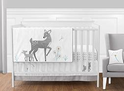 Sweet Jojo Designs 11-Piece Grey Gold and White Forest Deer