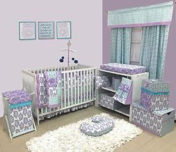 Bacati Isabella Girls Paisley 6 Piece Crib Set with Diaper S