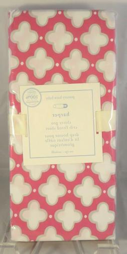 Pottery Barn Kids Bright Pink Harper Clover Geo Crib Fitted