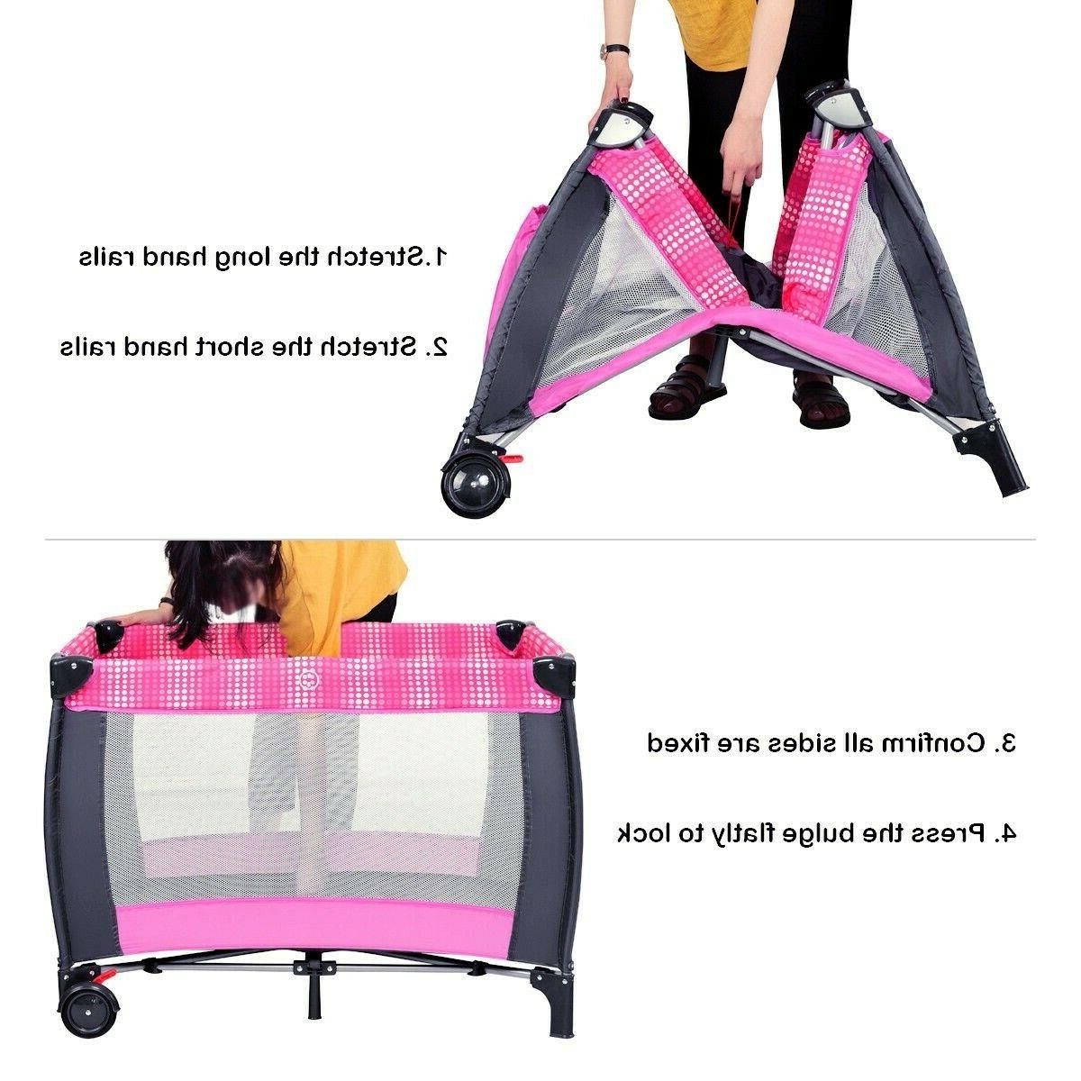 Baby Cot Travel Infant Playpen Toys Pink Portable Changer
