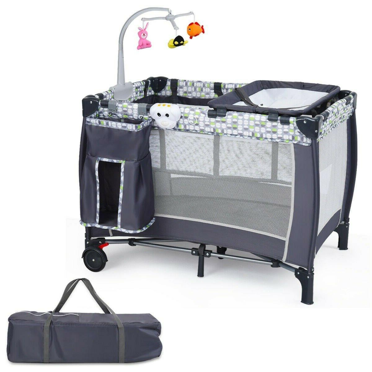 Baby Cot Travel Folding Crib Infant Playpen With Toys Kids P