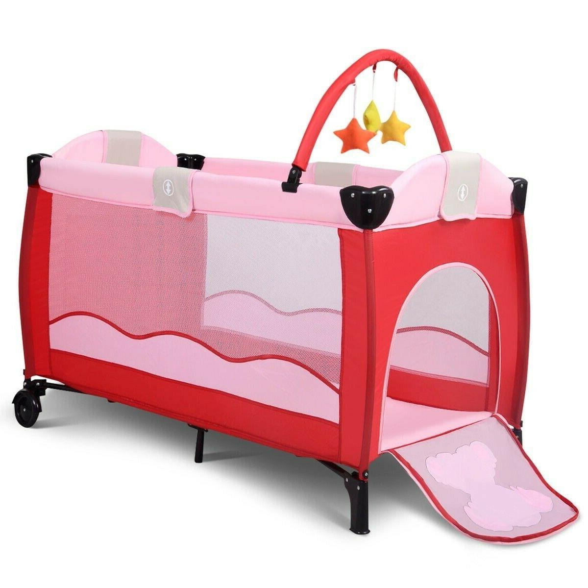 New Baby Playpen Playard Pack Infant Bassinet Bed