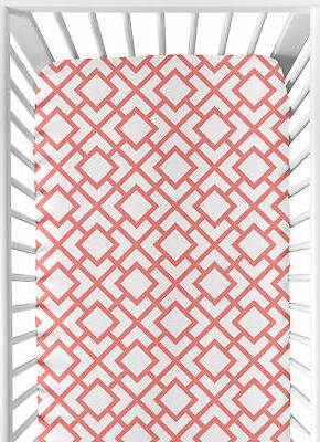 Sweet Jojo Baby Crib Or Toddler Bed Fitted Sheet For Coral S