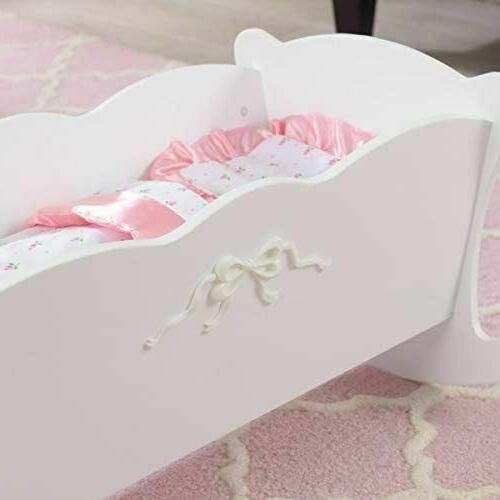 Baby Doll Rocking Cradle Crib Play Toy w/ Pillow Blanket