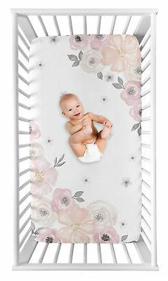 Blush Pink Grey White Watercolor Floral Photo Op Fitted Crib
