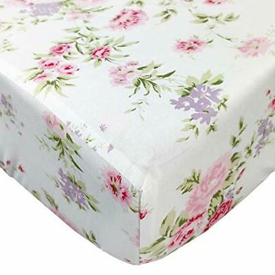 Brandream Fitted Crib Sheets Floral Portable Crib