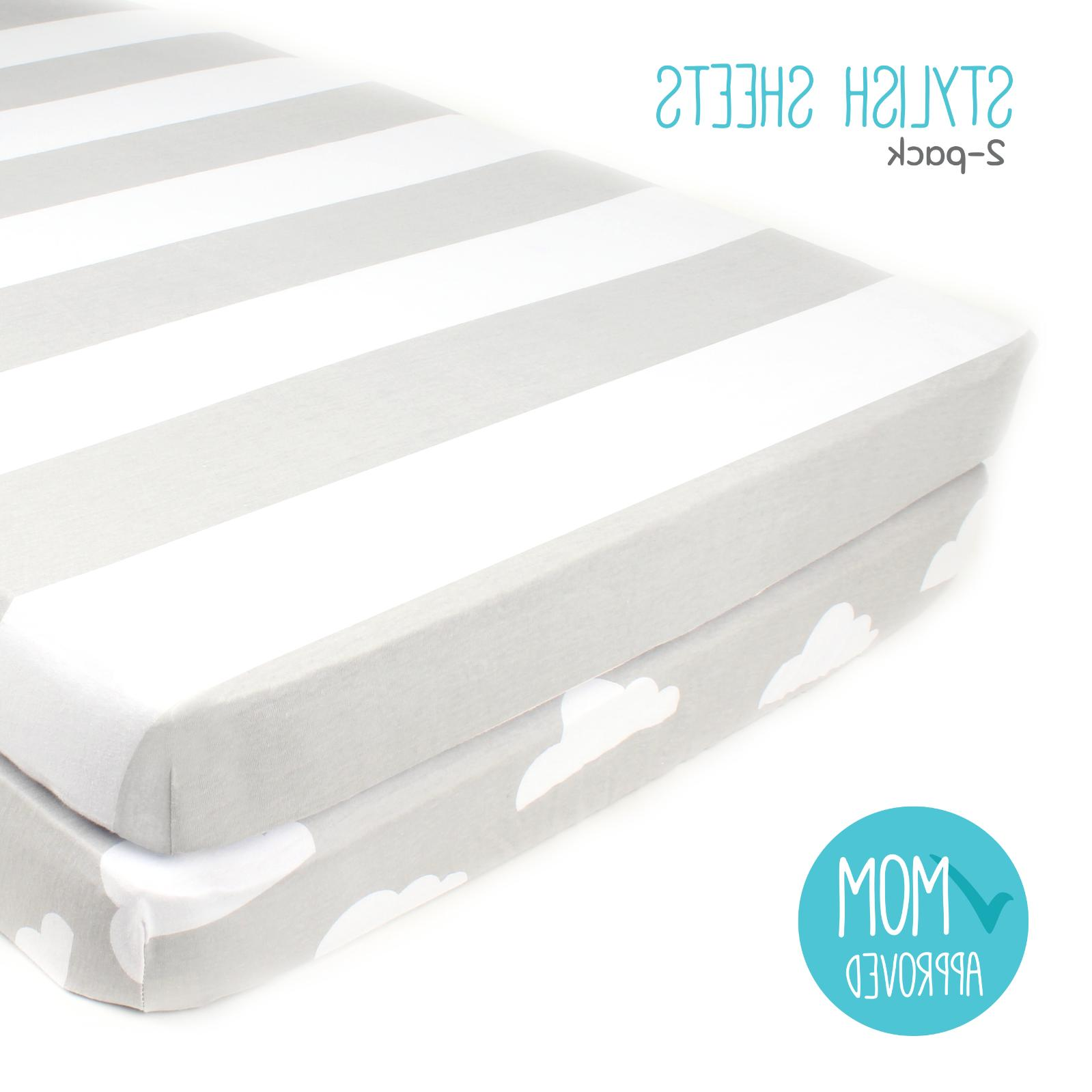 """Fitted Cotton Grey Crib Sheets 2 Pack """"Stripes & Clouds"""" by"""