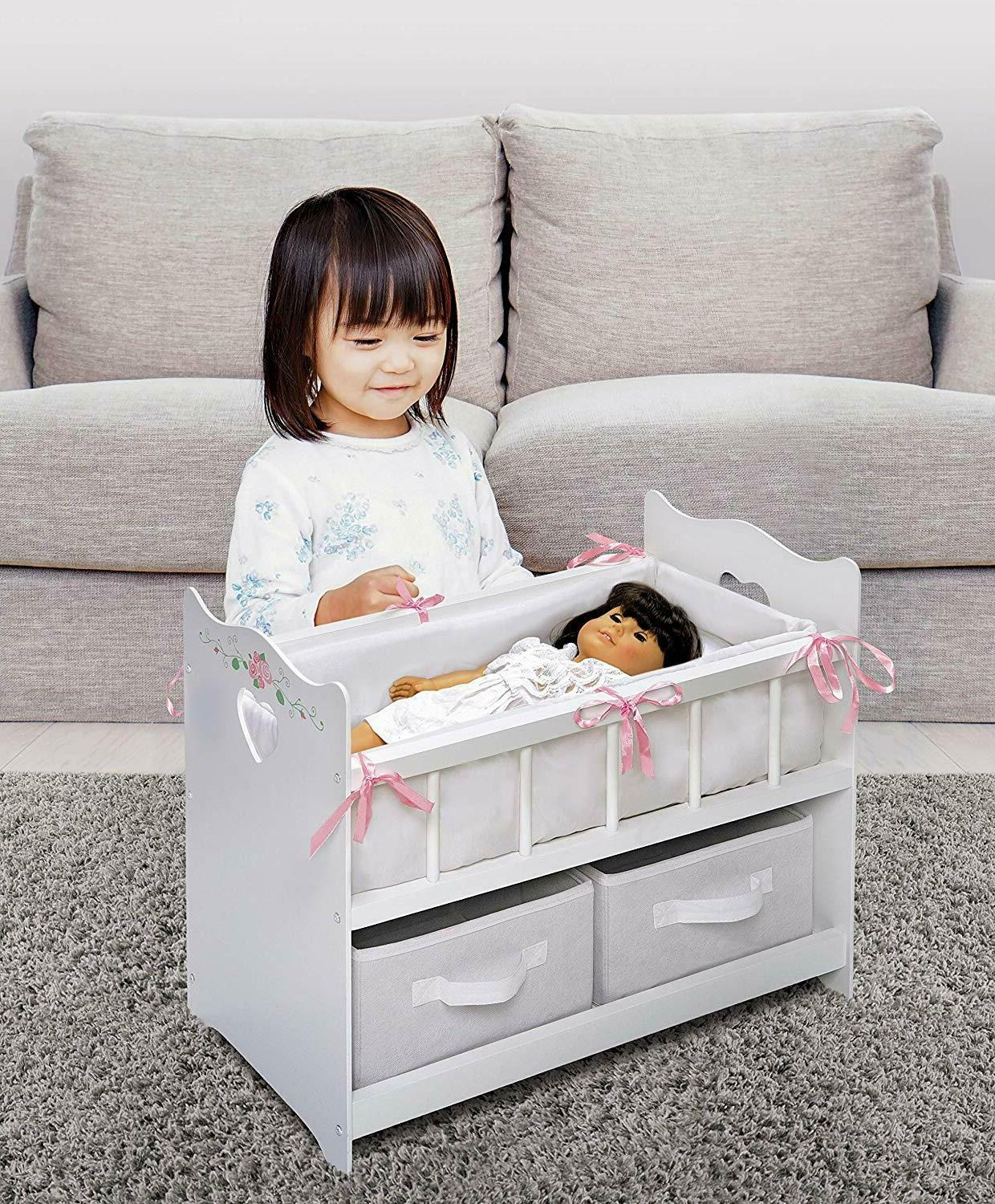 Furniture Baby Doll Crib Wooden Bedding Mobile Musical