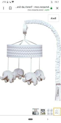Trend Lab Gray,Floral, Elephant Musical Crib Mobile, Baby Do