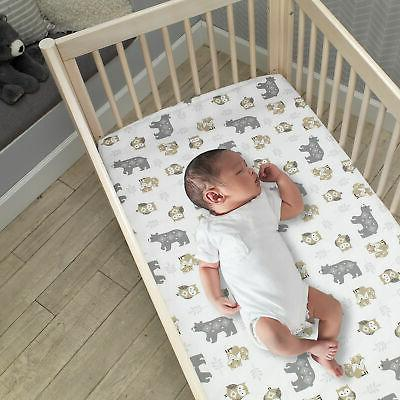 Lambs Forest Baby Crib Bedding - Gray